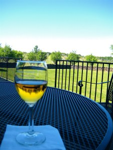 Wine glass on the table at Piedmont vineyards.