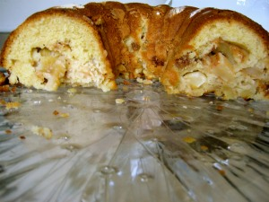 the apple cake, on the cake plate
