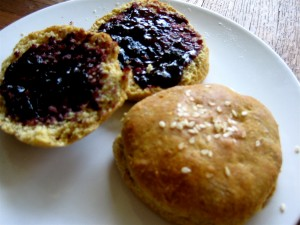 biscuits with blueberry jam