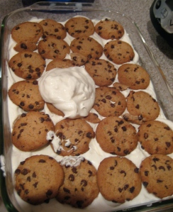 Second layer of cookies ready to be smothered with cool whip