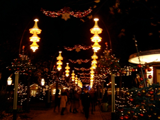 lights line the streets inside Tivoli