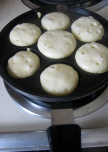 aebleskiver batter in the pan