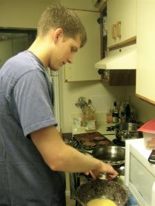 James prepares the eggplant