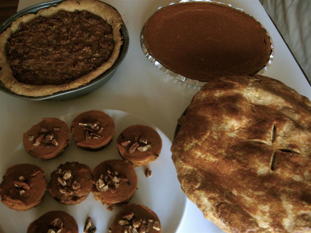 German Chocolate Pecan Pie, Smooth Pumpkin Pie, Apple Pie and Mini Chocolate Chip Pumpkin Pie