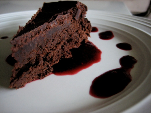 chocolate torte with blackberry coulis