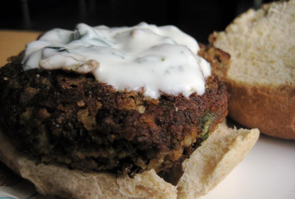 lentil burger with mint yogurt sauce