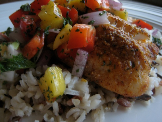 tilapia with peach salsa