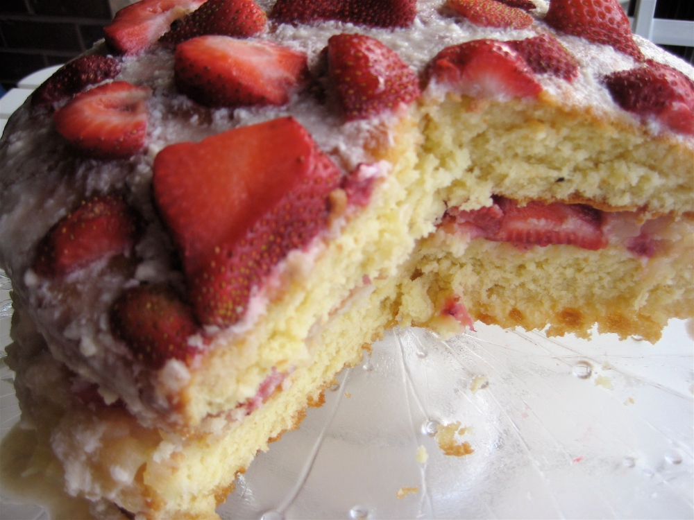 coconut pineapple strawberry layer cake