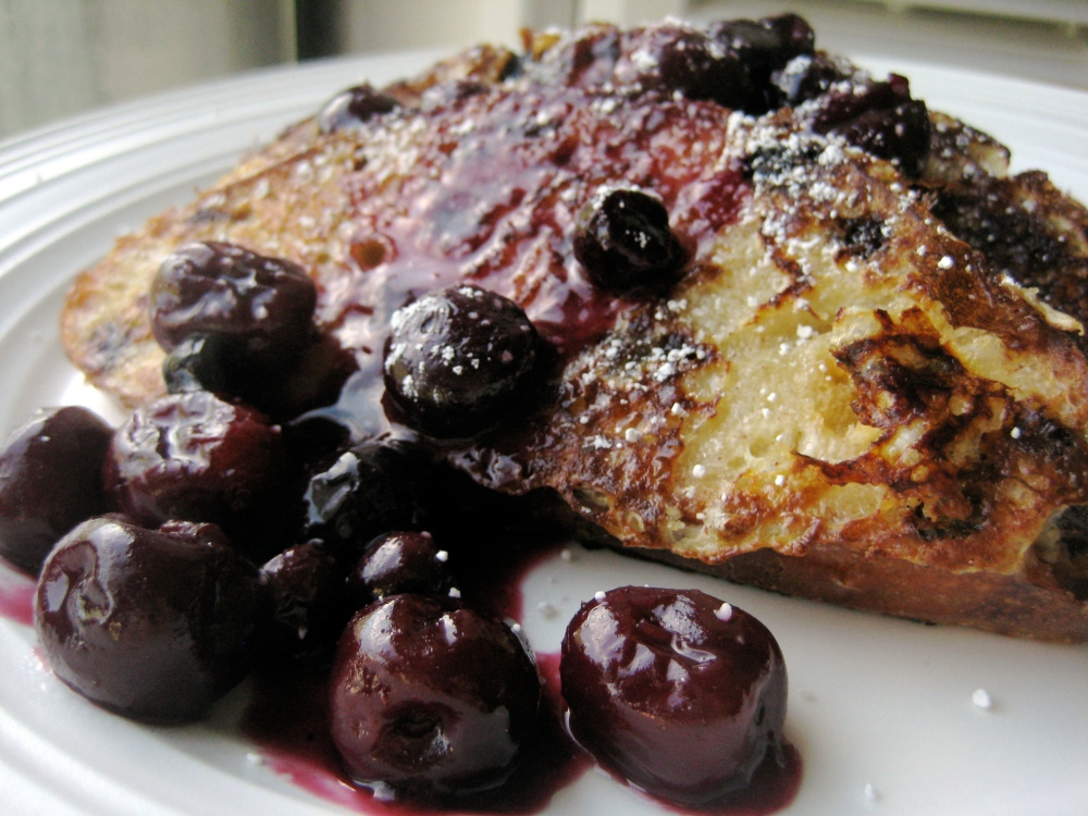 french toast with cherry-blueberry compote