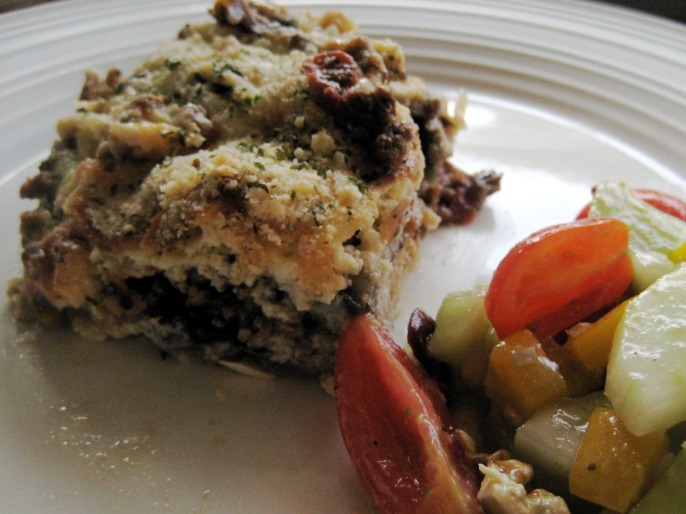 moussaka with cucumber salad