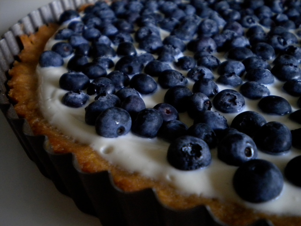honeyed yogurt and blueberry tart