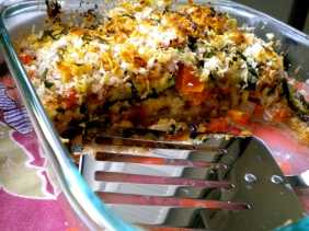 layered eggplant, tomato and zuchini casserole