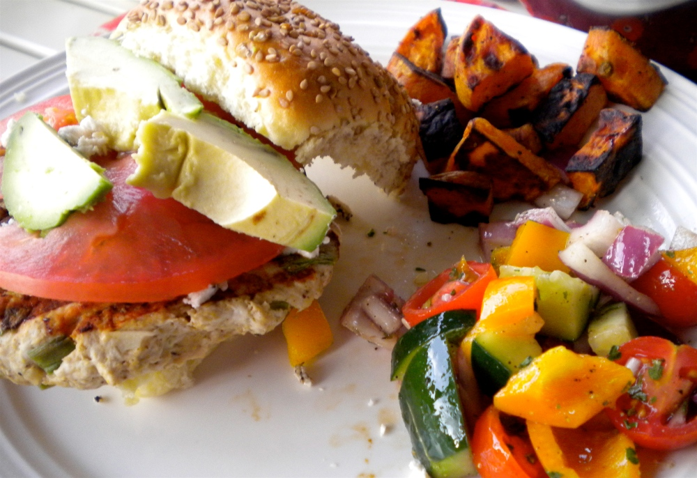 turkey burger, roasted sweet potatoes and vegetable salad