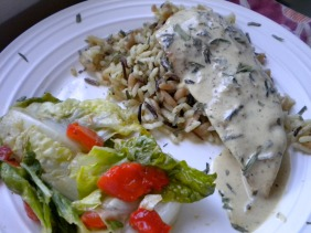 chicken with a mustard cream sauce