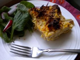 parsnip, sweet potato and leek bread pudding