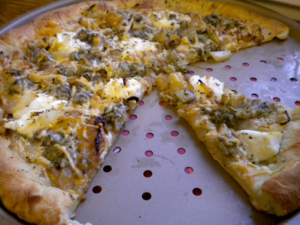 caramelized onion, roasted garlic, artichoke pizza