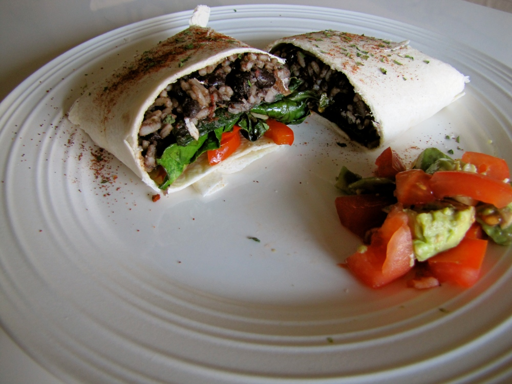 veggie burritos with collard greens and red peppers