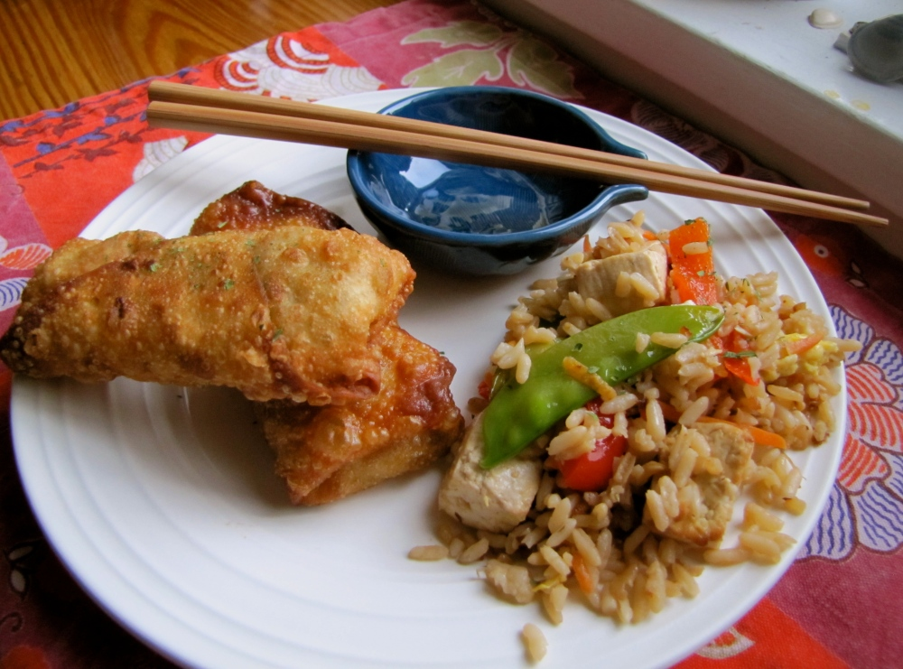 tofu fried rice and vegetable spring rolls