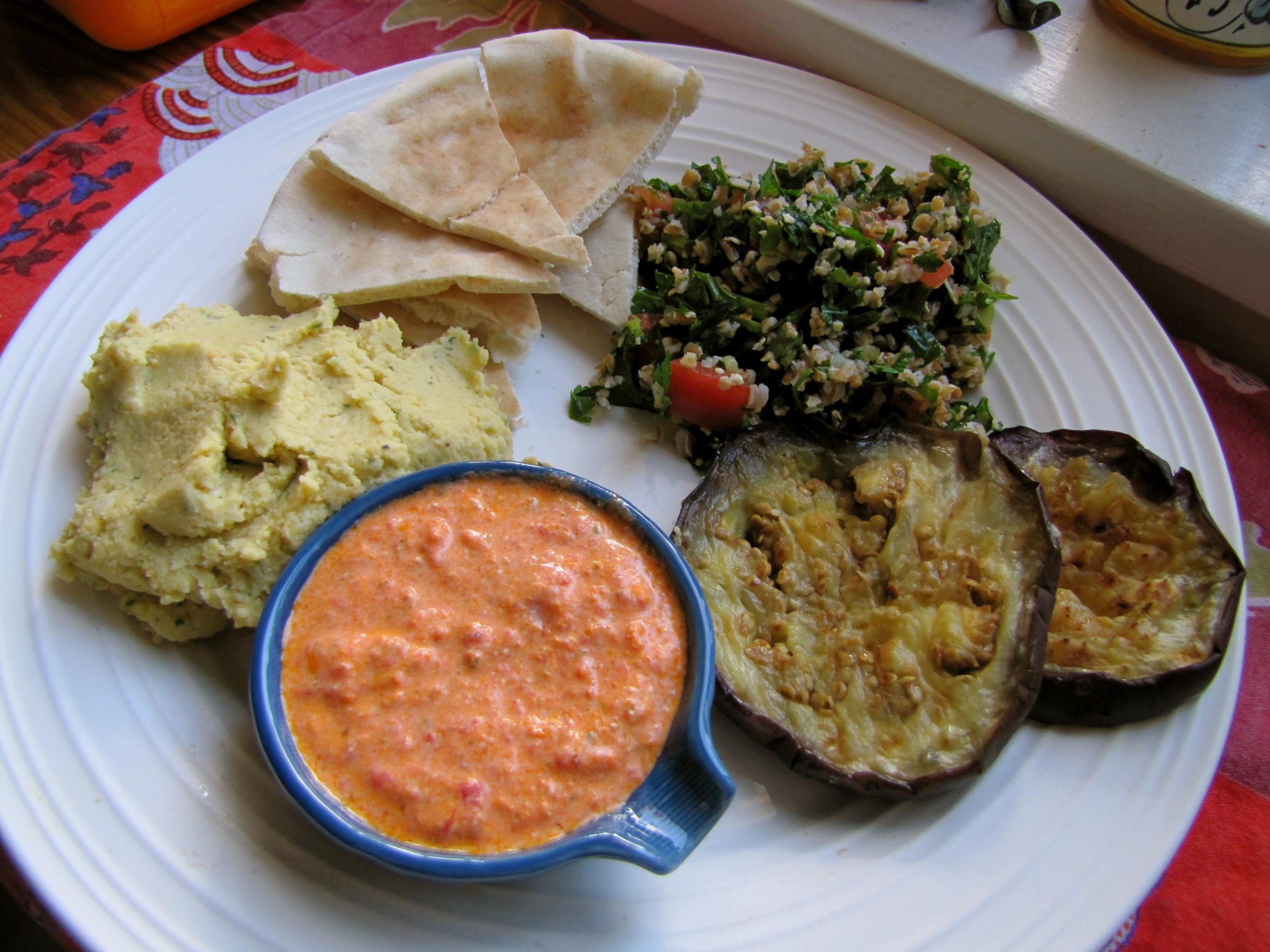 Mediterranean Plate: Hummus, Tabbouleh, Kopanisti, Grilled Eggplant